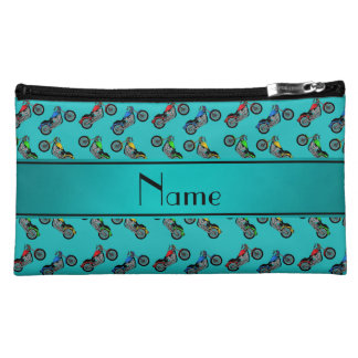Personalized name turquoise motorcycles makeup bags