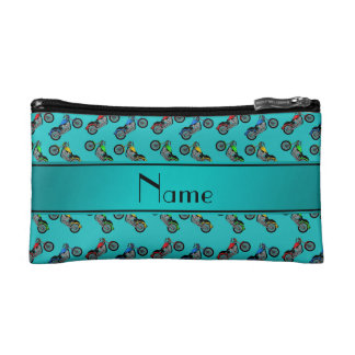 Personalized name turquoise motorcycles cosmetic bag