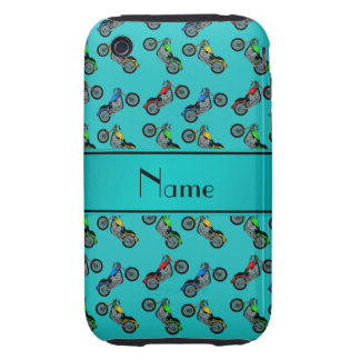 Personalized name turquoise motorcycles iPhone 3 tough cover