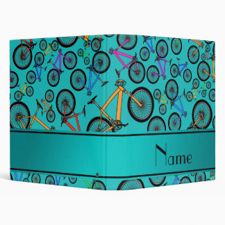 Personalized name turquoise mountain bikes binder