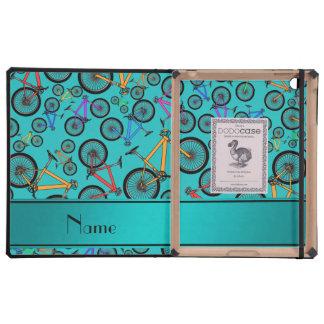 Personalized name turquoise mountain bikes iPad folio case