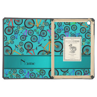 Personalized name turquoise mountain bikes iPad air cases
