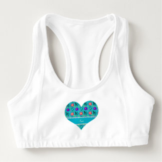 Personalized name turquoise music notes flowers sports bra