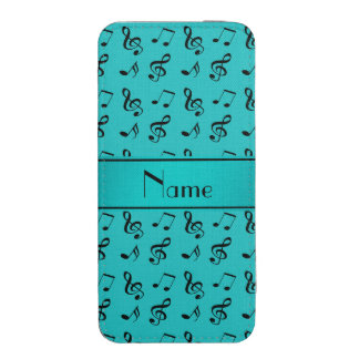 Personalized name turquoise music notes iPhone 5 pouch