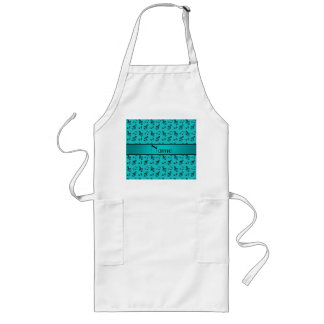 Personalized name turquoise music notes long apron