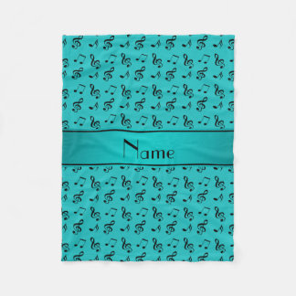 Personalized name turquoise music notes fleece blanket