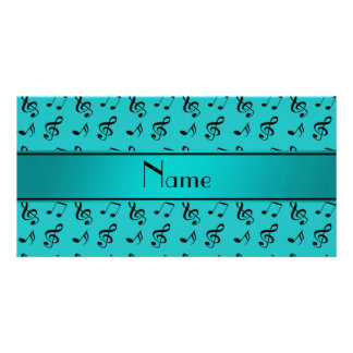 Personalized name turquoise music notes personalized photo card