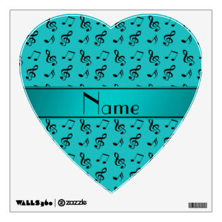 Personalized name turquoise music notes room graphics