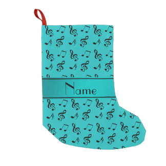 Personalized name turquoise music notes small christmas stocking
