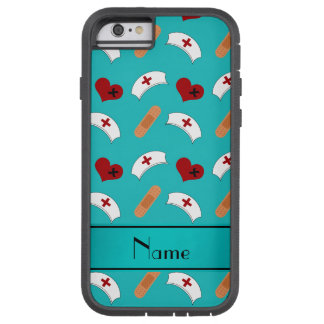 Personalized name turquoise nurse pattern iPhone 6 case