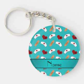 Personalized name turquoise nurse pattern keychain