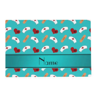 Personalized name turquoise nurse pattern laminated place mat