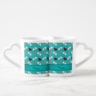Personalized name turquoise nurse pattern couples' coffee mug set
