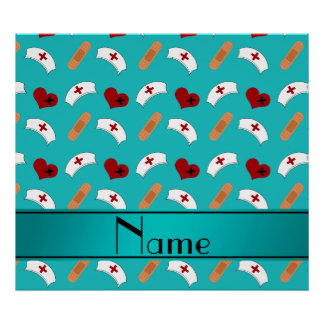 Personalized name turquoise nurse pattern poster