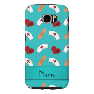Personalized name turquoise nurse pattern samsung galaxy s6 case