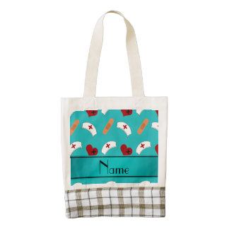 Personalized name turquoise nurse pattern zazzle HEART tote bag