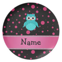Personalized name turquoise owl black pink dots dinner plate