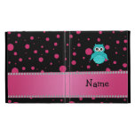 Personalized name turquoise owl black pink dots iPad folio cover