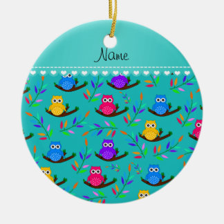 Personalized name turquoise owl branches leaves ceramic ornament
