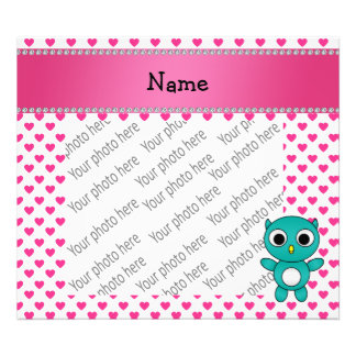 Personalized name turquoise owl pink hearts photo print