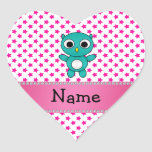 Personalized name turquoise owl pink stars heart sticker