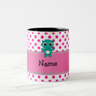 Personalized name turquoise owl pink stars mugs