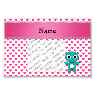 Personalized name turquoise owl pink stars photo print