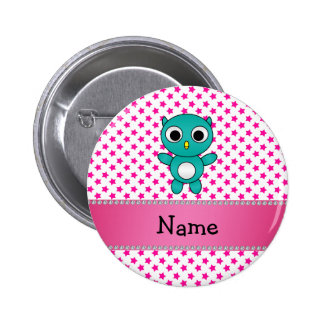 Personalized name turquoise owl pink stars pinback button