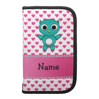 Personalized name turquoise owl pink stars folio planners