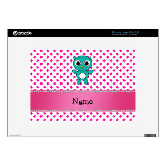 Personalized name turquoise owl pink stars skins for netbooks