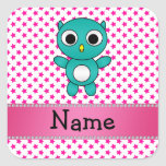 Personalized name turquoise owl pink stars square sticker