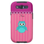 Personalized name turquoise owl pink stripes galaxy s3 covers