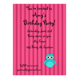 Personalized name turquoise owl pink stripes personalized announcement