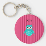 Personalized name turquoise owl pink stripes key chain