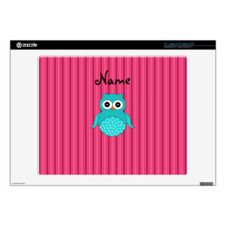 Personalized name turquoise owl pink stripes laptop decal