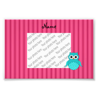 Personalized name turquoise owl pink stripes photo