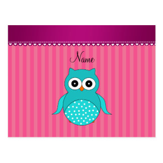 Personalized name turquoise owl pink stripes postcard