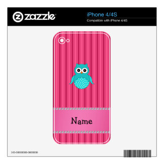 Personalized name turquoise owl pink stripes iPhone 4 decal