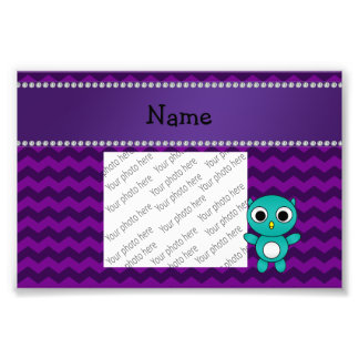 Personalized name turquoise owl purple chevrons photo