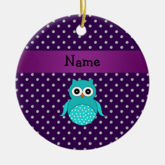 Personalized name turquoise owl purple diamonds ceramic ornament