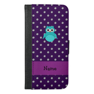 Personalized name turquoise owl purple diamonds iPhone 6/6s plus wallet case