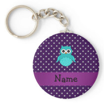 Personalized name turquoise owl purple diamonds keychain