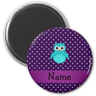 Personalized name turquoise owl purple diamonds magnet