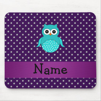 Personalized name turquoise owl purple diamonds mouse pad