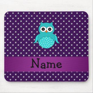 Personalized name turquoise owl purple diamonds mousepad