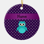 Personalized name turquoise owl purple diamonds christmas tree ornaments
