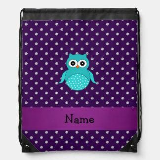 Personalized name turquoise owl purple diamonds drawstring backpacks
