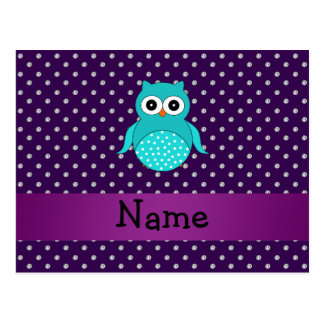 Personalized name turquoise owl purple diamonds postcard