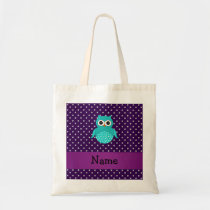 Personalized name turquoise owl purple diamonds tote bag