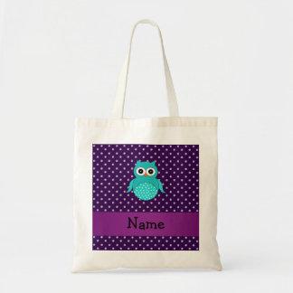 Personalized name turquoise owl purple diamonds tote bag